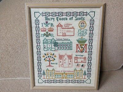 Mary Queen Of Scots Framed Tapestry Picture (Falkland Holyrood) Scotland Vintage