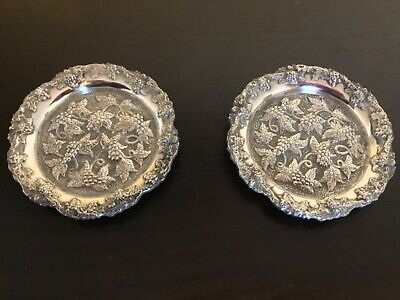 Pair of silver plated very ornate wine bottle coasters Sheffield england