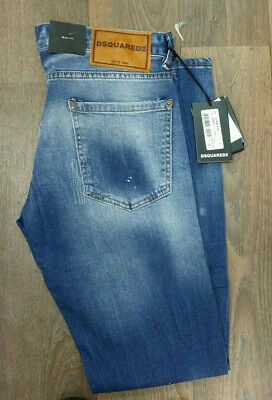 MEN/'S DSQUARED2 JEANS SLIM FIT STONE WASH BLUE FADED DISTRESSED NEW