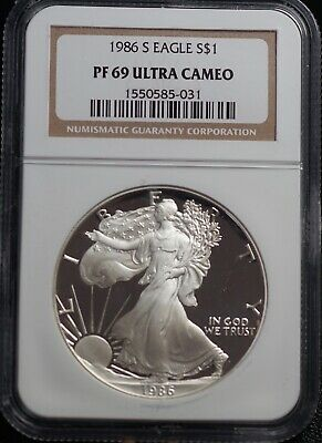 NGC PF 69 Ultra Cameo 1986 S American Silver Eagle One Dollar