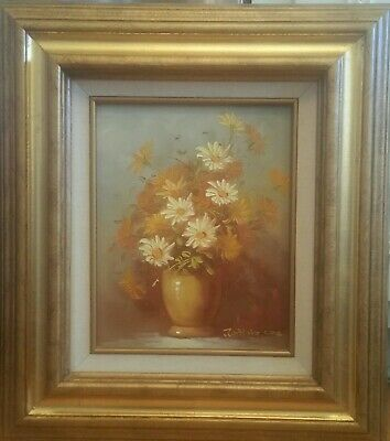"""GOLD WOOD FRAME VINTAGE FLORAL OIL PAINTING 8"""" x 10"""" CANVAS SIGNED ROBERT COX"""