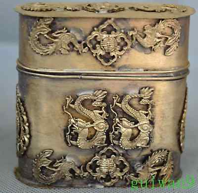 Collectable Exorcism Miao Silver Old Carve Phoenix Dragon Myth Toothpick Box
