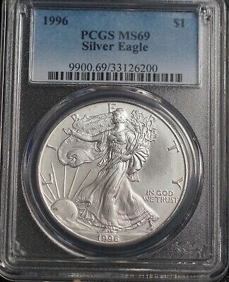1996 PCGS MS 69 American Silver Eagle One Dollar Coin KEY DATE