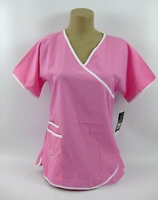 bb988130bf8 New Orleans Saints Scrub Top Mock Wrap Womens Small Pink Dudz NFL New