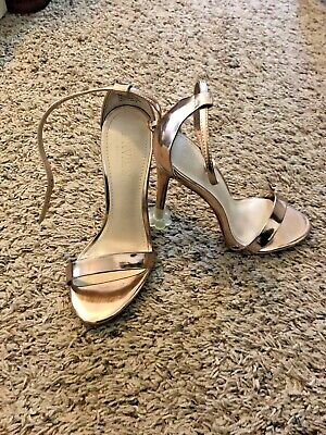 d2a2abf1b Ankle Strap Stiletto Sandals David s Bridal Gold Metallic Size 5 4.25