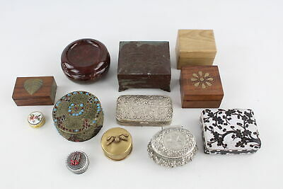 12 x Assorted Vintage TRINKET / PILL BOXES Inc Brass, Silver Plate, Wood Etc