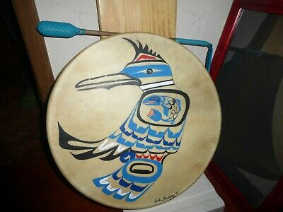 "Northwest Coast Salish First Nation Haida Hand Made ""Stellar Jay-Salmon"" Drum"