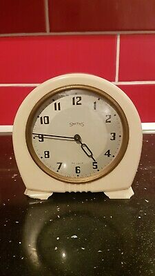Antique Smiths 30 Hour White Bakelite Mantel Clock