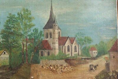 Antique French ORIGINAL Oil Painting France Church Village Naive Shabby Chic