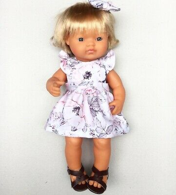 Miniland Doll Clothes Dress&bow Clip For 38cm And 32cm Doll