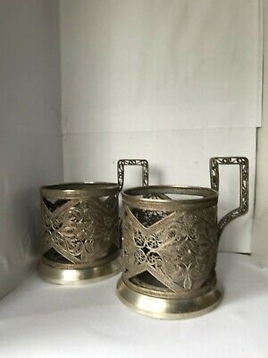 Vintage  Antique Russian KAM pair of glass holders.