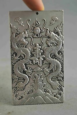 Collection Chinese Tibet Ancient Miao Silver Carve Dragon Tibet Amulet Pendant