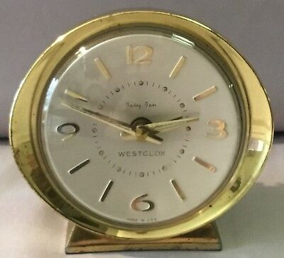 Westclox Baby Ben Alarm Clock - Style 8 - Brushed Brass Case - 1965