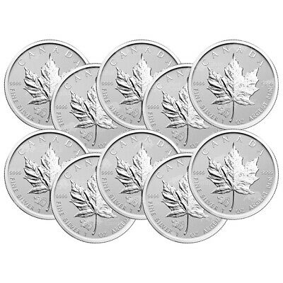 Lot of 10 x 1 oz 2016 Canadian Maple Leaf Grizzly Privy Reverse Proof Silver Coi