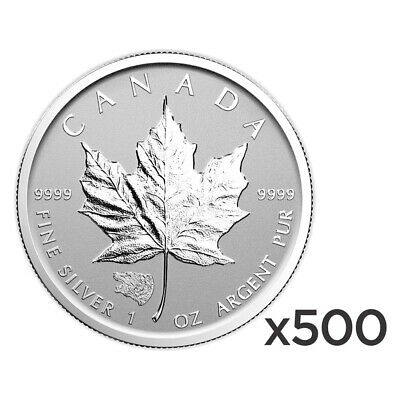 Lot of 500 x 1 oz 2016 Canadian Maple Leaf Grizzly Privy Reverse Proof Silver Co