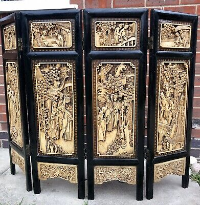 Antique Japanese/Chinese Ebonised Carved Hard Wood 4 Panel Fire Screen.