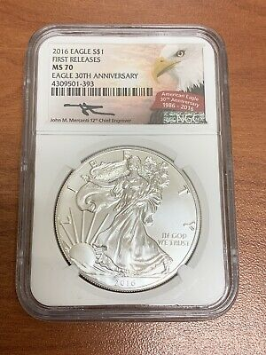 2016 Silver Eagle Ngc Ms70 First Releases 30Th Anniversary Mercanti Signed