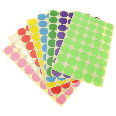 15 Sheets Self-adhesive Color-Code Dot Round Sticker Decal Circle Sticky Labels