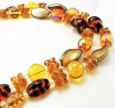 Vintage Japan BEADED 2-STRAND ART GLASS NECKLACE Amber/Aurora Borealis Crystals