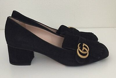 5a779a6a8d75  635 GUCCI SHOES Black Suede Interlocking Gg Logo Detail Mid Heel It ...