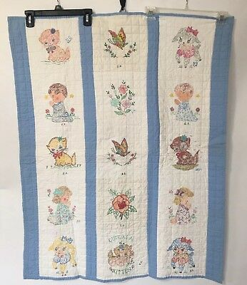 *HAND-PAINTED CRIB QUILT -Blue white Baby Blanket Wall Hanging 31x40