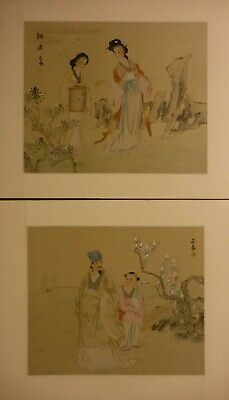 LA19 ladies and gentleman - Pair Chinese paintings on silk 18½x16 i14½x12