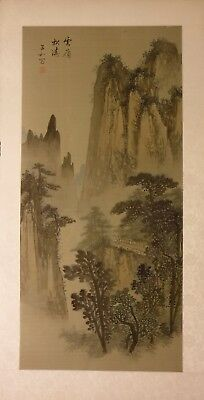 "LS05 view point mountains landscape Chinese painting on silk 35""x18"" i29½""x13½"""