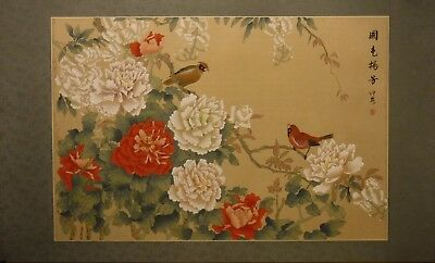 "RS1 Peonies and birds - Chinese painting on silk 40""x24""/30""x20"