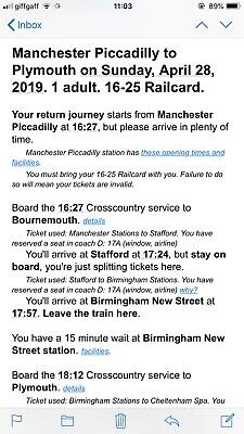 Manchester Piccadilly to Plymouth Ticket 28th April