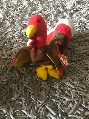 6cede6ddcae NEW Ty Beanie Baby Gobbles The Turkey 1996 Retired Thanksgiving Plush Bird  MWMT