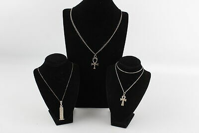 3 x Vintage .925 Sterling Silver EGYPTIAN REVIVAL PENDANT NECKLACES (36g)