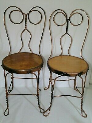 Set of 2 - Vintage/Antique Ice Cream Parlor Metal Iron Chairs - Twisted Legs