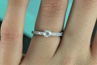 5193dee1e $4,050 Tiffany & Co Novo 0.53ct Cushion Diamond Platinum Engagement Ring  Size 6