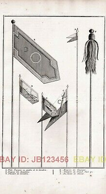 OTTOMAN Empire Islamic Military Pennant Flags, Antique 1730s Copper Engraving