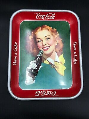 Antique Vintage 1948 Coke Coca Cola Tray Have a Coke Red Hair Girl Yellow Scarf