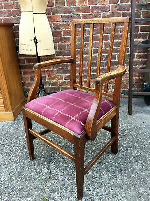 Large Antique Open Armchair / Georgian Elbow Chair / English Oak Chair.