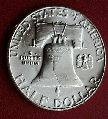1955 Key Date FRANKLIN Half Dollar SILVER 50C Coin P Mint HIGH DETAIL LUSTER #7