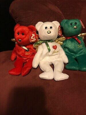 "Ty Beanie Babies (Set Of 3) "" Gift "" Bears{Red,white & Green] Hallmark Exclusive"