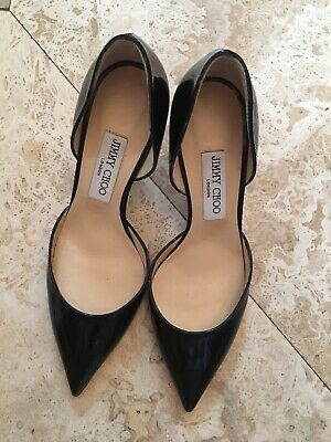 6b3b46e2fb Jimmy Choo Black Patent Leather Pumps High Heels Size 38 US 7.5 Made In  Italy