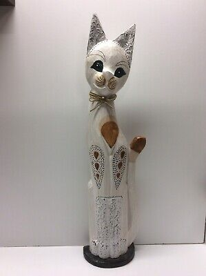 Large Detailed Carved Wood Cat Statue Figure Carving 24 Inches Tall R1