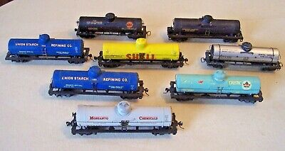Mixed Lot of 8 HO Scale Model Railroad Oil Chemical TANKER Freight Cars