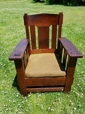 Antique / Vintage Stickley Style Mission Oak Arts & Crafts Arm Chairs - 1 Pair