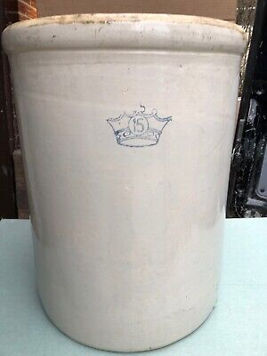 Antique ROBINSON RANSBOTTOM 15 GALLON STONEWARE POTTERY PICKLE CROCK BLUE CROWN