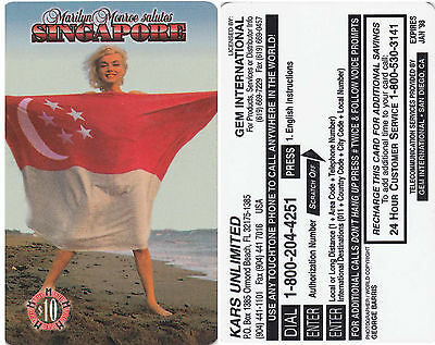 Marilyn Monroe Salutes Singapore Phone Card Prototype Barris Photograph Intage
