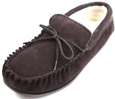 Gents Genuine Suede Moccasin Slippers Hard Sole In Dark Brown Sizes 4 To 15