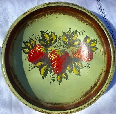 Peter Ompir vintage Antique wooden bowl small strawberry