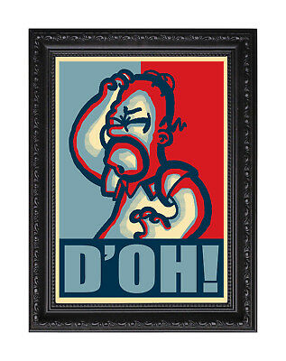 """Homer Simpson """"D'OH!"""" Obama Hope Style Theme Poster or Art Print"""