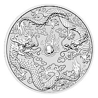 Lot of 10 x 1 oz 2019 Perth Mint Double Dragon Silver Coin