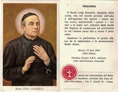"""St. Luigi Guanella, old HOLY CARD with 2nd class RELIC """"ex indumentis"""""""