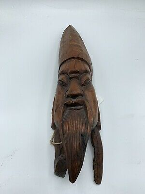 Vintage Chinese Hand Carved Hard Wood Wall Mask